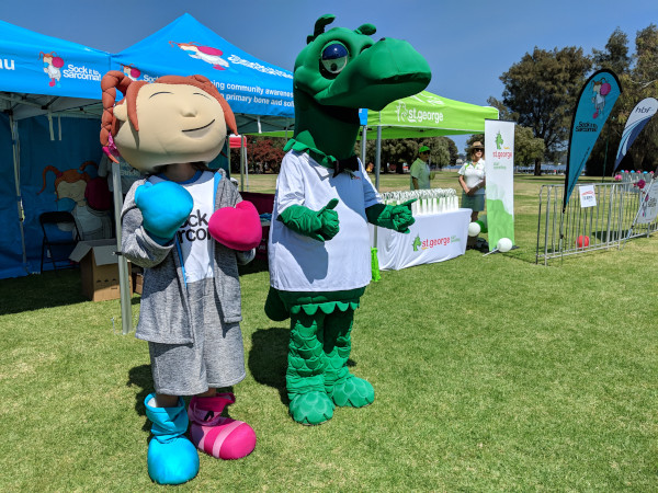 Sock it to Sarcoma! and St George Bank Mascots